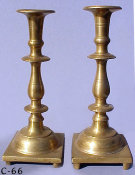 Heavyweight Early 19th Century Brass Sabbath Candlesticks