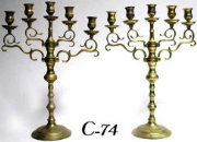 Pair of 5 Light Brass Menorahs