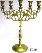 Brass Five Light Candelabrum with Lions of Judea