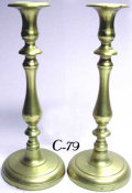 Pair of Beautiful Antique Heavyweight Cast Brass Sabbath Candlesticks