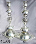 Pair of Classic Polish Petticoat Style Silver Plated Sabbath Candlesticks