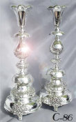 Pair of Ornate Petticoat Style Candlesticks