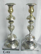 Pair of Petticoat Style Polish Candlesticks