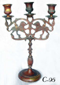 Cast Brass Three Light Sabbath Candelabrum