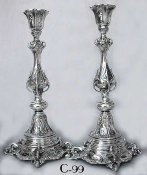 Magnificent Faceted, Foliated and Reticulated Polish Candlesticks