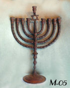 Antique Menorah with Dark Cinnamon Original Patina