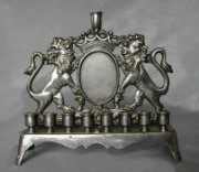 Early 19th Century Heavyweight Cast Brass Chanukah Menorah