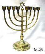 Chanukah Menorah with Octagonal Stepped Base And Eight Banded Branches