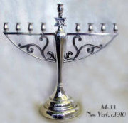 Silvered Chanukah Menorah c. 1910-20
