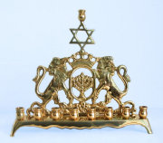 Brass Menorah with Lions of Judea Flanking A Synagogue Menorah