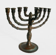 Cast Brass Menorah with Banded Branches