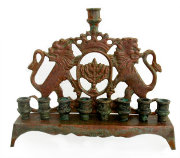 Menorah with Multicolor Patina