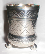Old Silver Beaker On Three Ball Feet