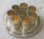 Set of 8 Silver Cups with Engraved Floral Tray