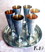 Set of 6 Silver Cups with Gilt Lining And Bright Cut Engraving