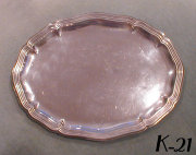 Oval Silver Tray with Fluted Rim