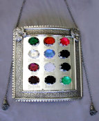 Silvered Torah Shield with Bohemian Glass