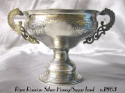 Rare Russian Silver Honey Pot/Sugar Bowl
