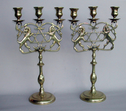Matched Pair of Lion Candelabra with Stars of David