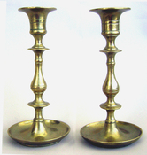 Antique Brass candlesticks with dished bases