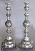 Russian Silver Sabbath Candlesticks