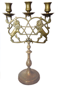 3 Light Candelabrum - Rampant Lions & Star of David