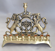 Antique Lion Menorah