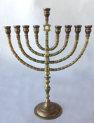 Poland - Antique Branched Chanukah Menorah with Star of David