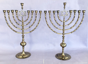 Antique Pair of 19th Century Synagogue Chanukah Menorahs